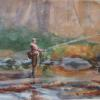 "Trout Fishing Watercolor, 7.5"" x 9.5"""