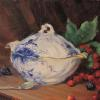 "Blue & White Covered Bowl Oil, 8"" x 10"""