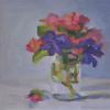 "Blossoms in a Jelly Jar Oil,  8"" x 8"""