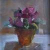 "Violets in terracotta  Oil, 6"" x 6"""