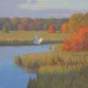 "Egret on Autumn Marsh,  Oil, 12"" x 12"" oil"
